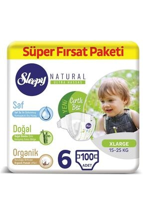 Sleepy Natural Bebek Bezi 6 Numara Xlarge Süper Fırsat Paketi 100 Adet