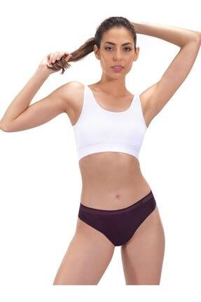 Cottonhill Kadın Mürdüm Basic File Lastikli Lazer Kesim Bikini Külot