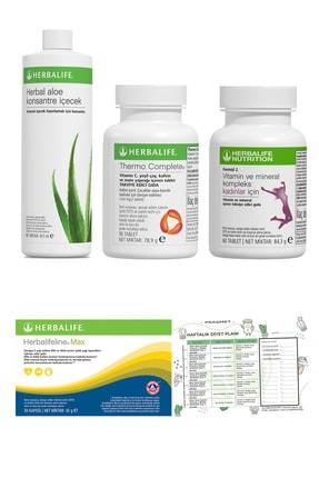 Herbalife Yağ Yakıcı Thermo Complete + Aloe Vera Içecek + Kadın Vitamini + Omega 3 + Diyet Listesi