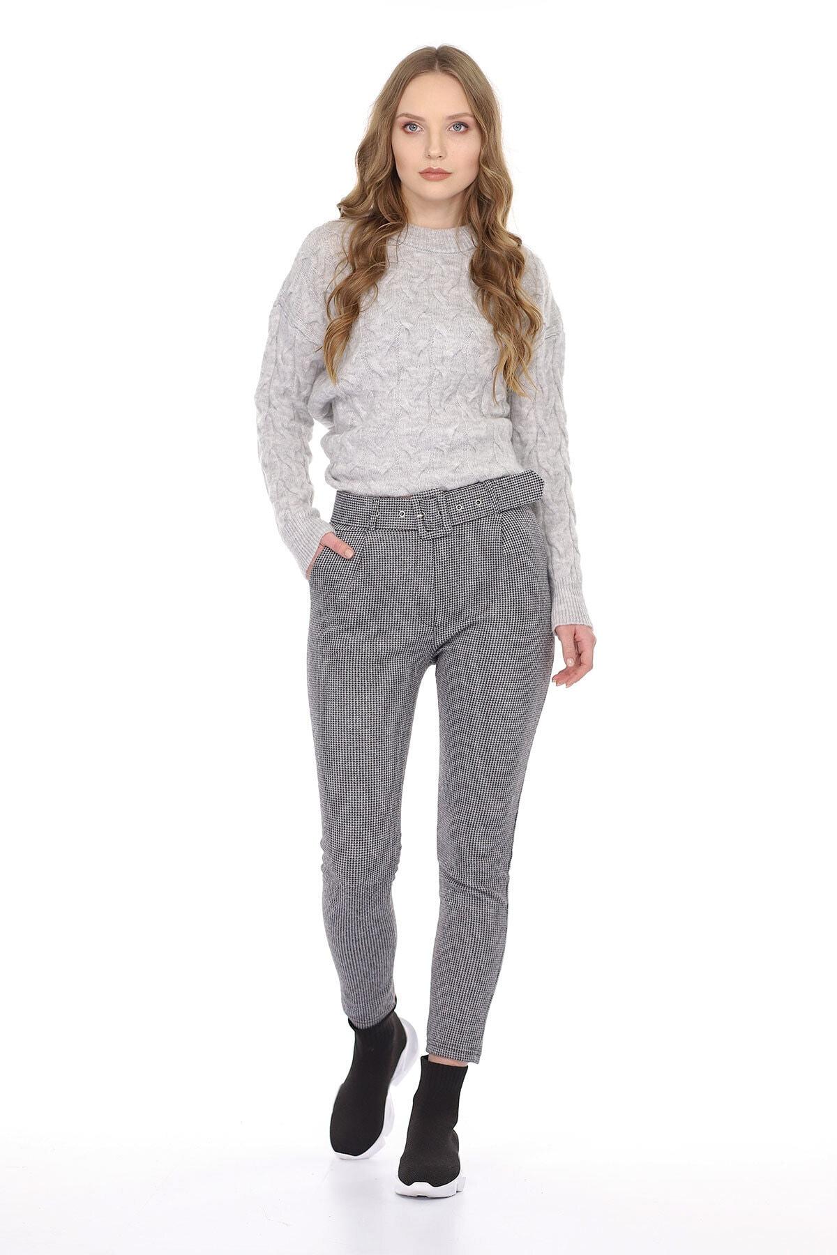 Carlamia Kadın Bel Kemerli Ekose Pantolon 1