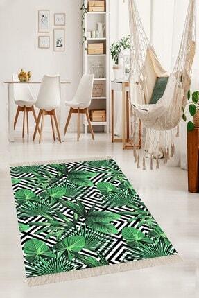 on the clouds Yeşil Yaprak Desenli Dijital Yıkanabilir Tropikal Desenli Modern Salon Halısı 80 x 200 cm
