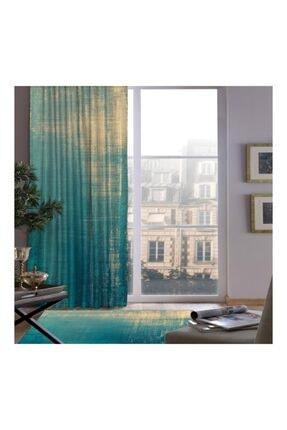 Jungle Desenli Mavi Modern Fon Perde 140  x 260