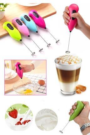 Hayveys Renkli Pilli Mini Mikser Kahve Cappucino Karıştırıcı Süt Köpürtücü