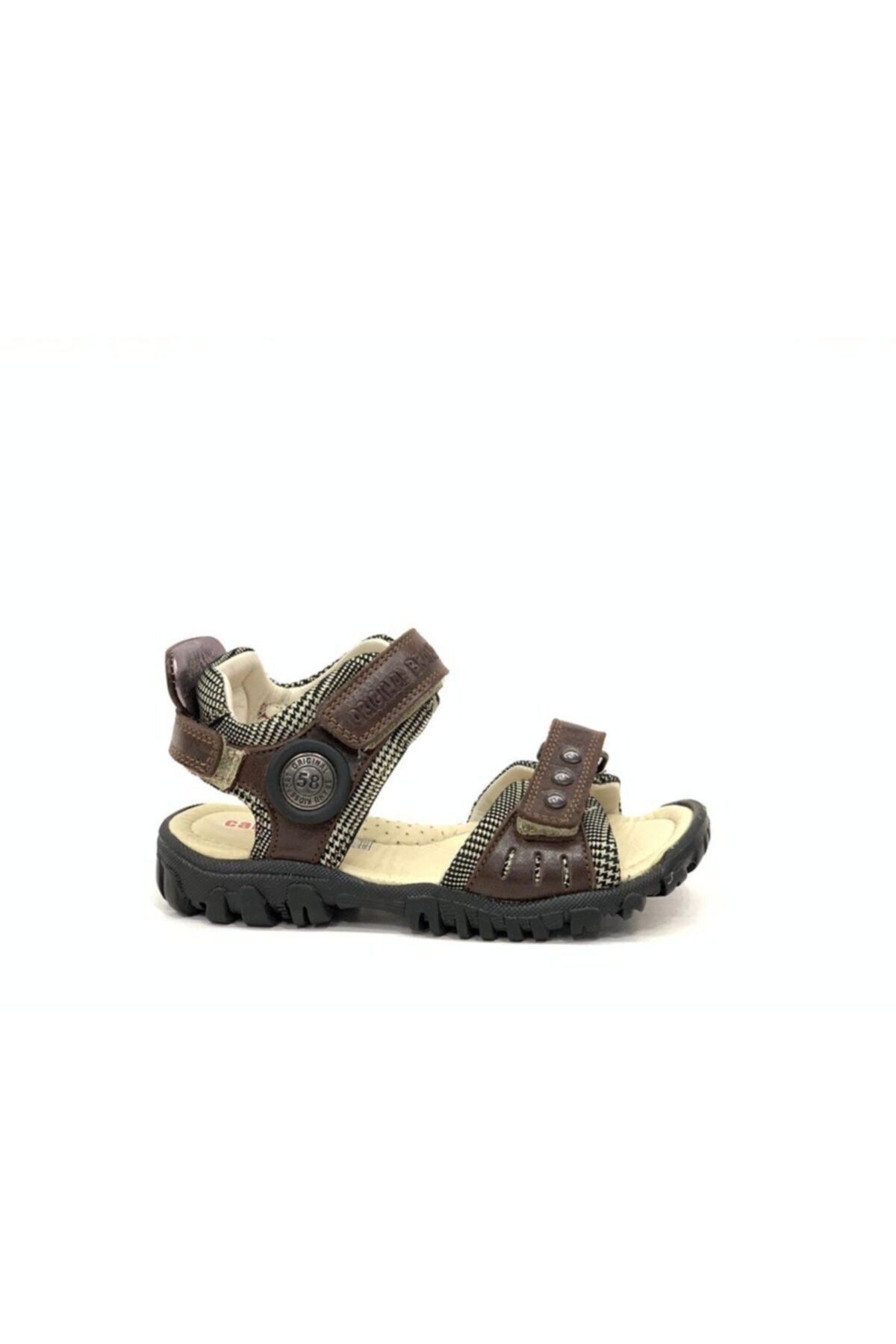 Tuğba Ortopedi Erkek Çocuk Kahverengi Hakiki Deri Sandalet 2370 1