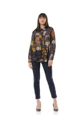 BİRELİN Kadın Lacivert Fleural Bluz