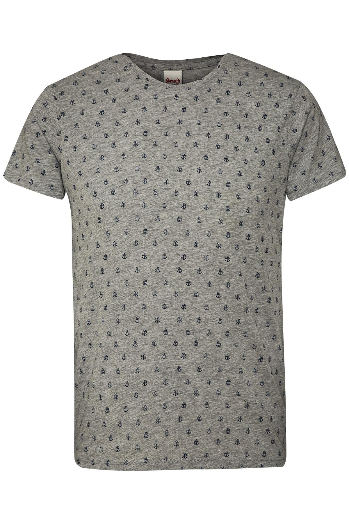 Superfly Erkek Gri Desenli T-Shirt 1