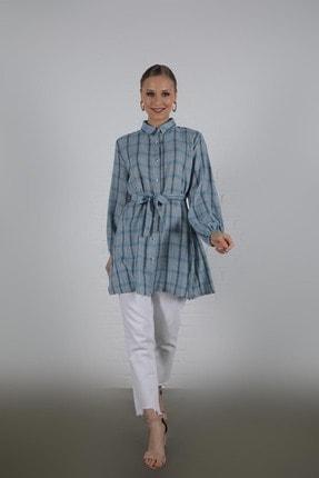 EBU Prive Kadın Turkuaz Ekose Gömlek 90 cm