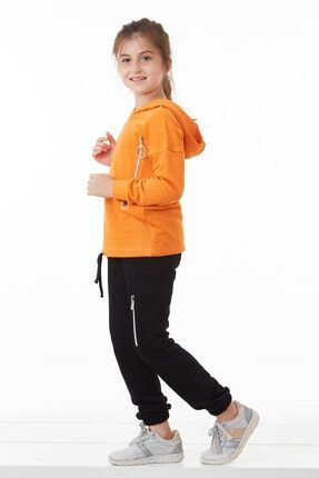 Pafim Kız Çocuk Turuncu Kapüşonlu Eşofman Takım