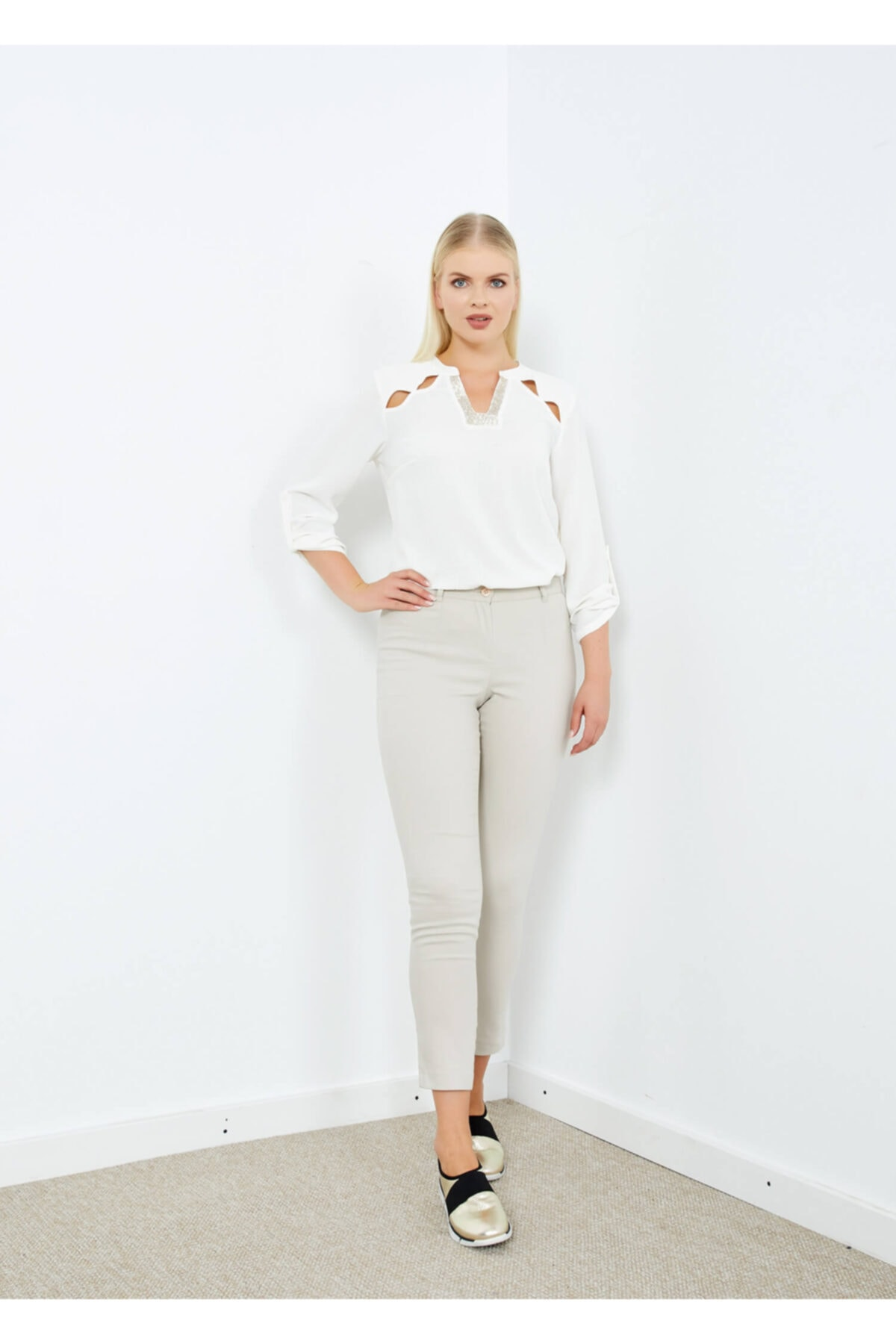 Adze Kadın Taş Klasik Kesim Dar Paça Pantalon 2
