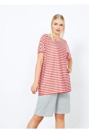 Adze Kadın Kırmızı Çizgili T-Shirt