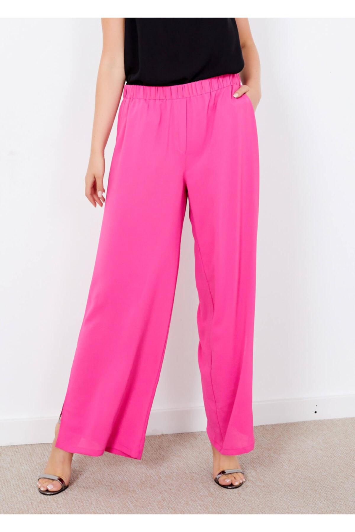 Adze Kadın Pembe Yırtmaçlı Cepli Pantolon 1