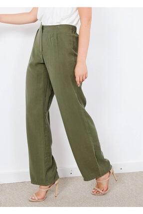 Adze Kadın Haki Fermuarlı Salaş Pantalon
