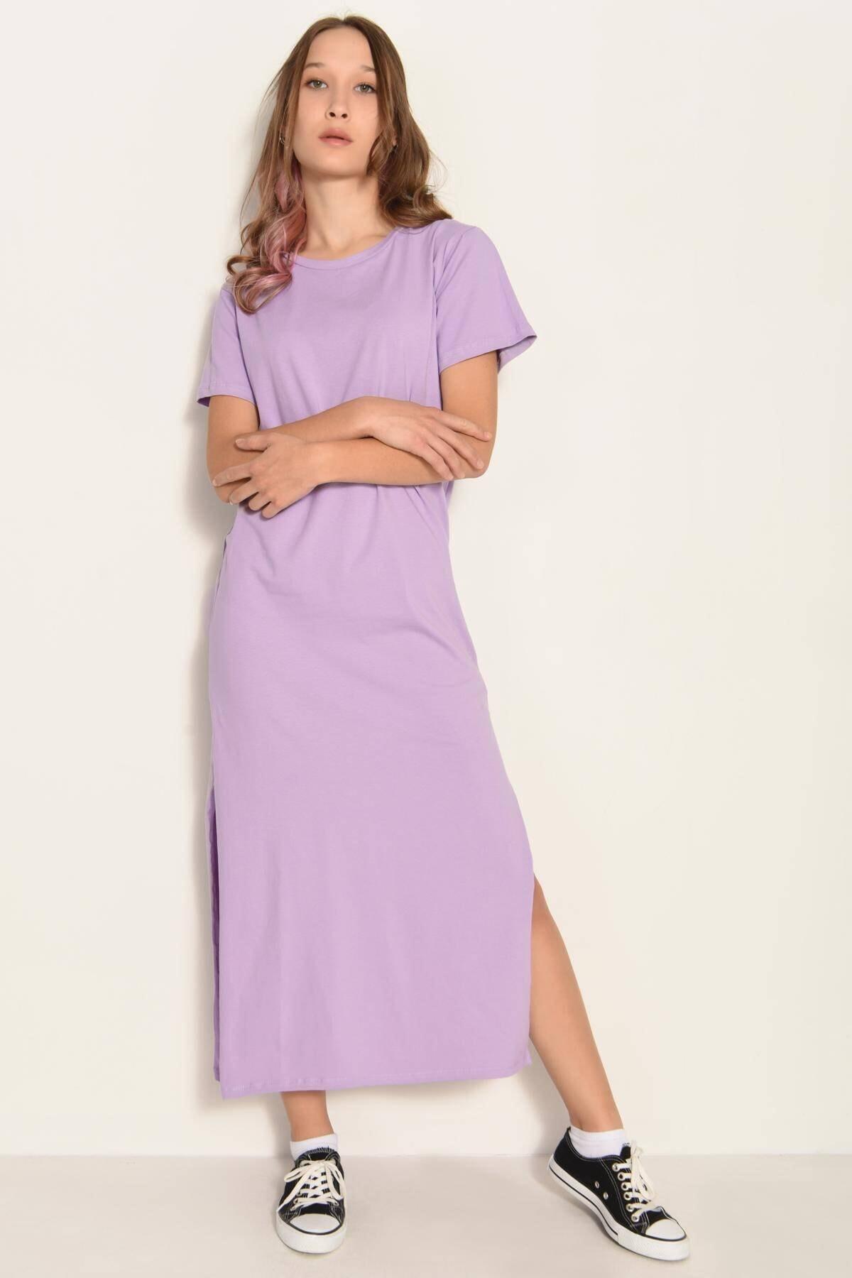 Addax Kadın Lila Yırtmaçlı Uzun Elbise E0729 - DK2 ADX-0000020575