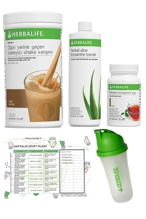 Herbalife Fındık Shake Klasik Aroma Çay Aloe Vera Shaker ve Diyet Listesi 4'lü Set