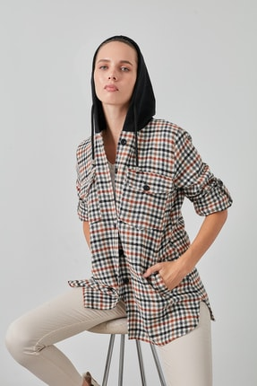 Lela Kadın Siyah Cepli Kare Desenli 59120921kare Düğme Kapamalı Kapüşonlu Gömlek