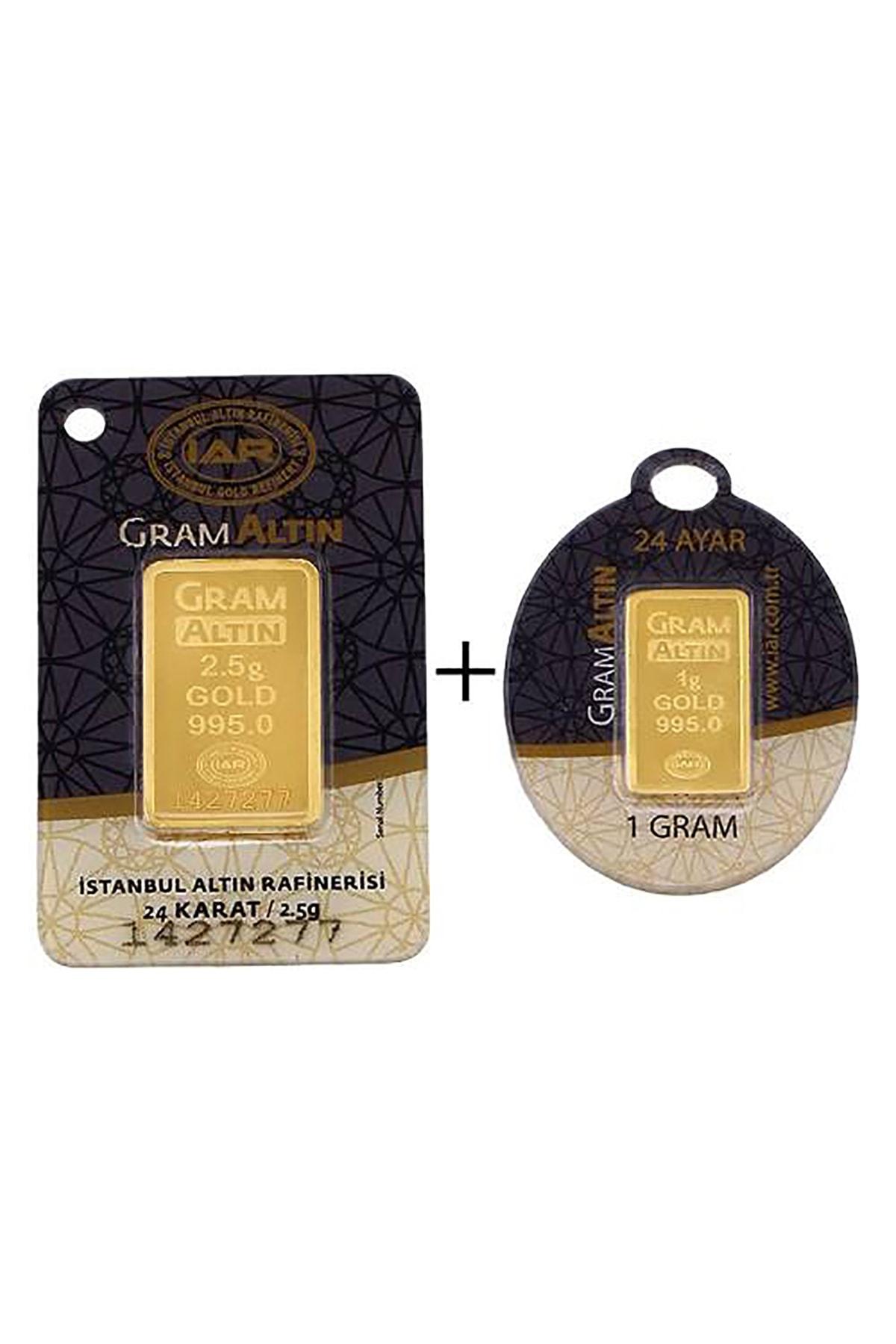 Tuğrul Kuyumculuk 3,5 Gram (2,5+1) Külçe Gram Altın IAR 24 Ayar K0003-5