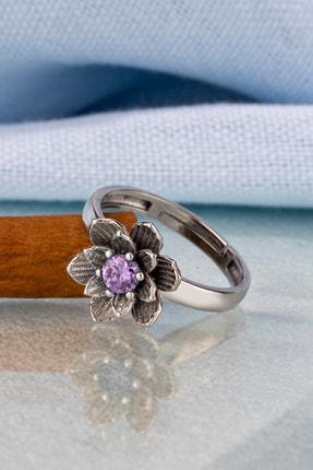Else Silver Mor Taşlı Lotus Çiçeği Gümüş Yüzük