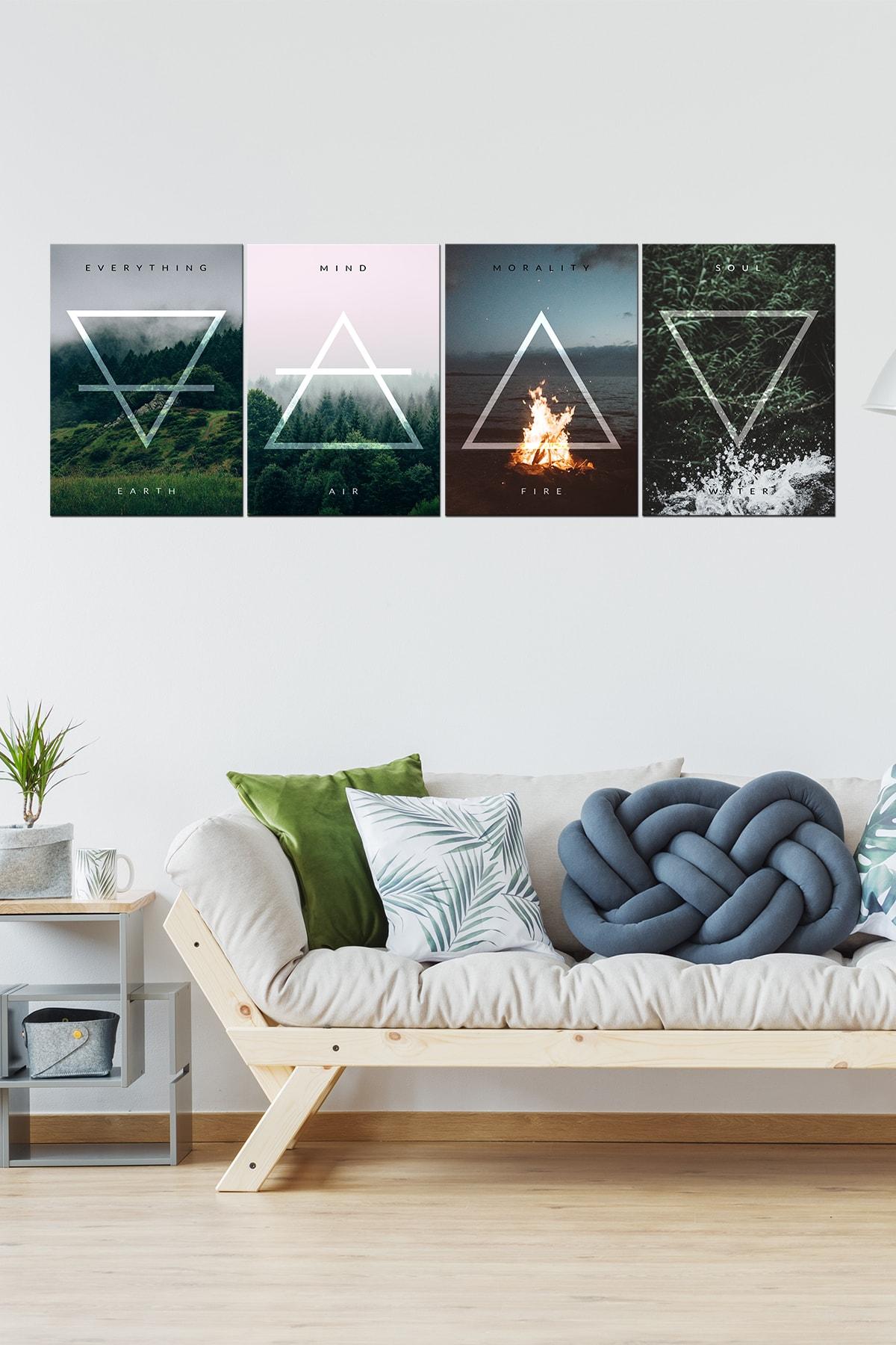 Javvuz Dört Element Metal Poster Koleksiyonu (4 Adet) 1