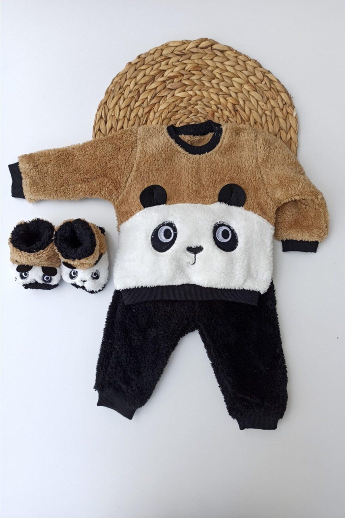 ALİSS Unisex Bebek Kahverengi Panda Desenli Kışlık Welsoft Panduflu Bebek Takımı 1
