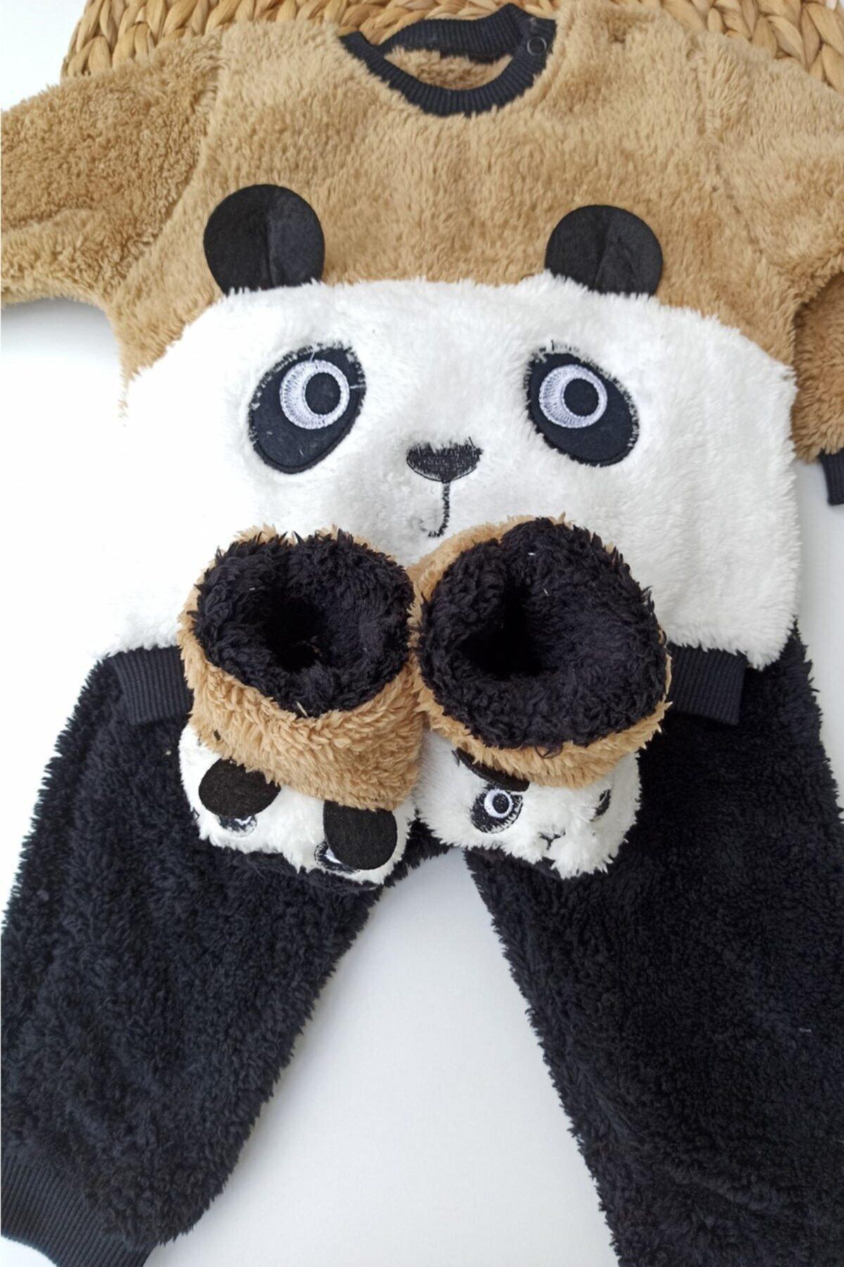 ALİSS Unisex Bebek Kahverengi Panda Desenli Kışlık Welsoft Panduflu Bebek Takımı 2