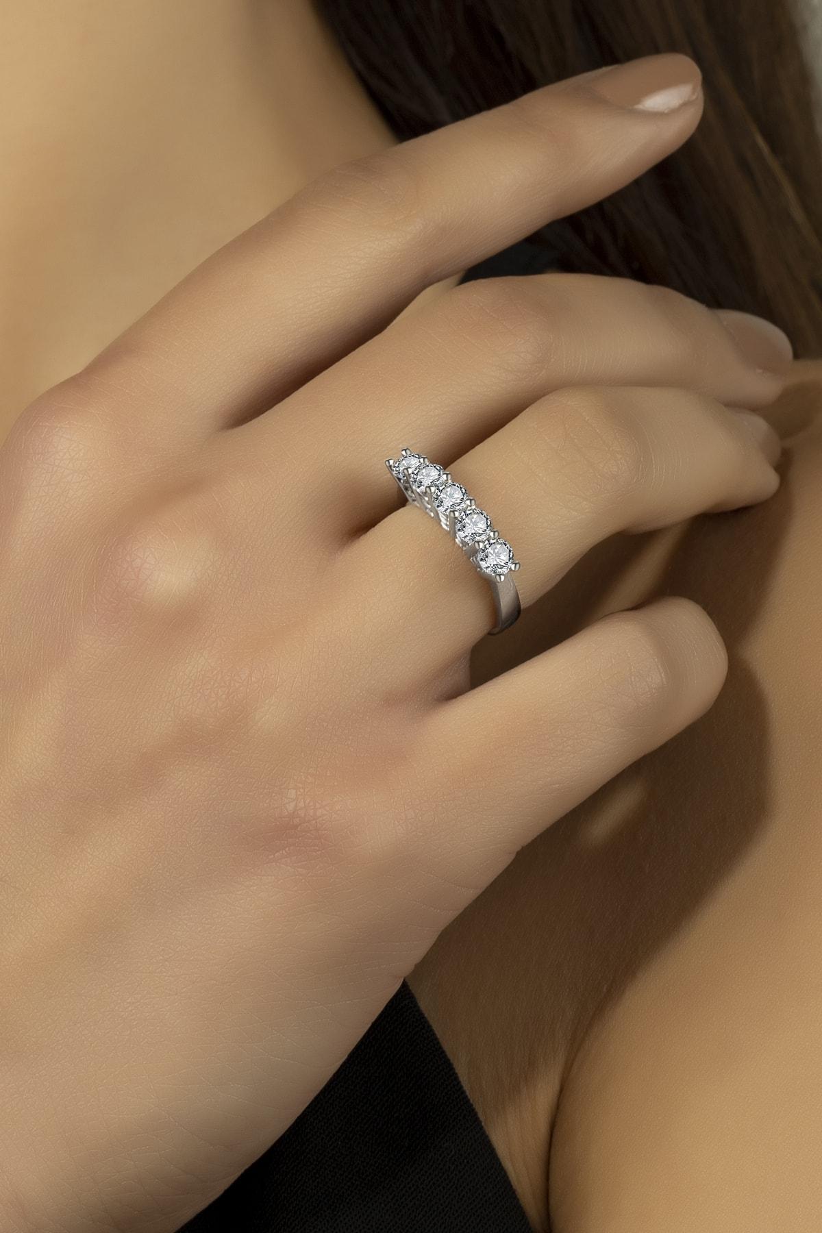 Swaroski Kadın  Swarovski 925 Ayar Gümüş Beştaş Yüzük 1