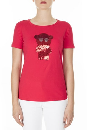 Emporio Armani Kadın Kırmızı Baskılı T-shirt 3h2t6q 2jqaz 0334