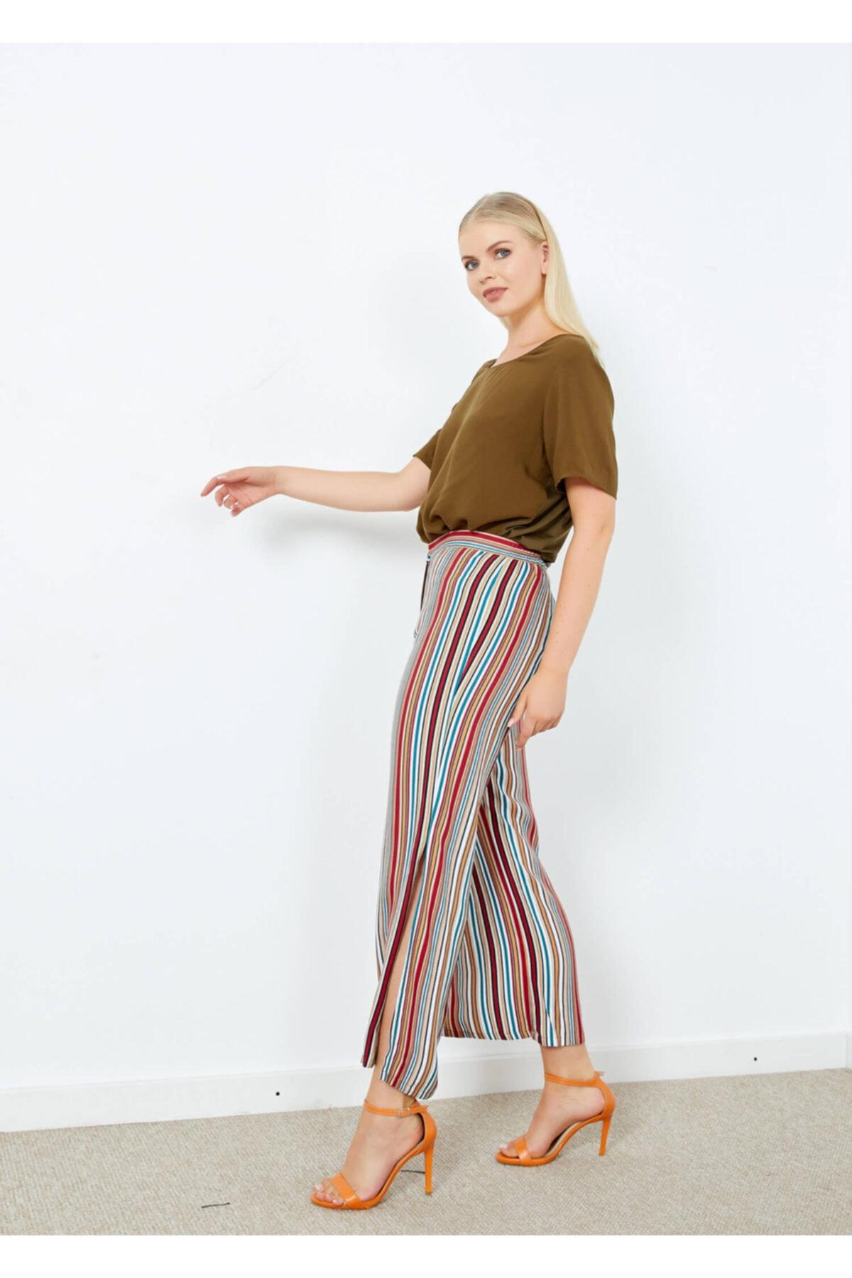 Adze Kadın Ekru Çizgili Yırtmaç Detaylı Pantolon 2