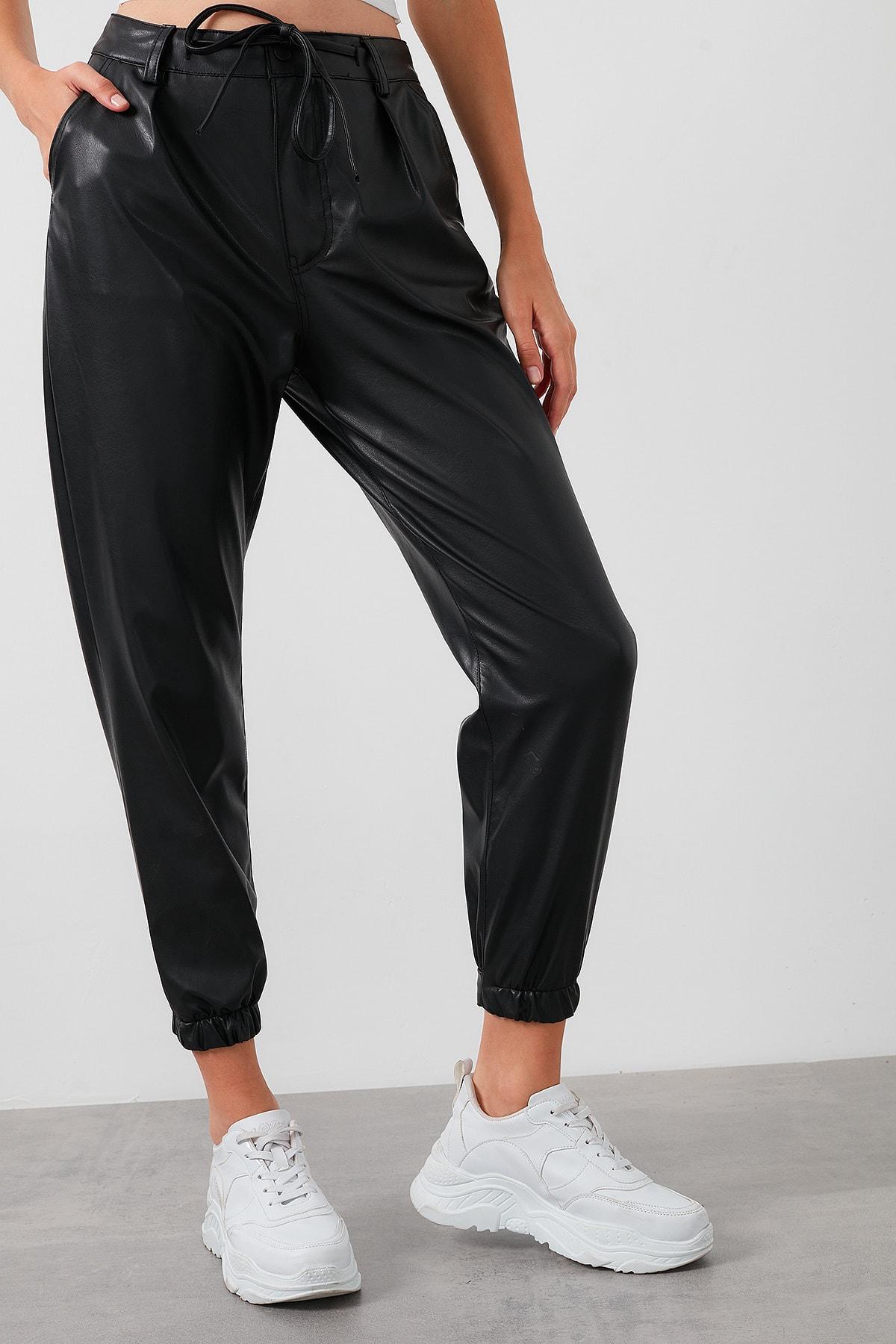 Lela Kadın Siyah Belden Bağlamalı Paçası Lastikli Suni Deri Pantolon 2