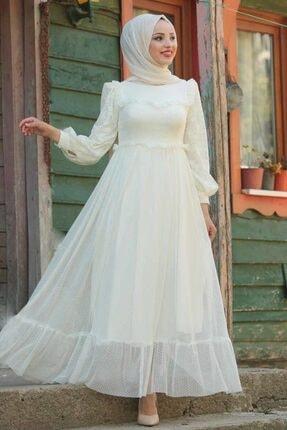 Neva Style Kadın Ekru Puantiyeli Tesettürlü Abiye Elbise 38730e