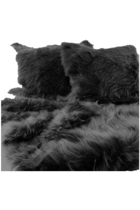 Helen George - Suni Kürk Yatak Ve Koltuk Şal Seti / Siyah