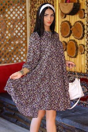 Modaymış Kadın Lila Çiçekli Kat Katlı Elbise