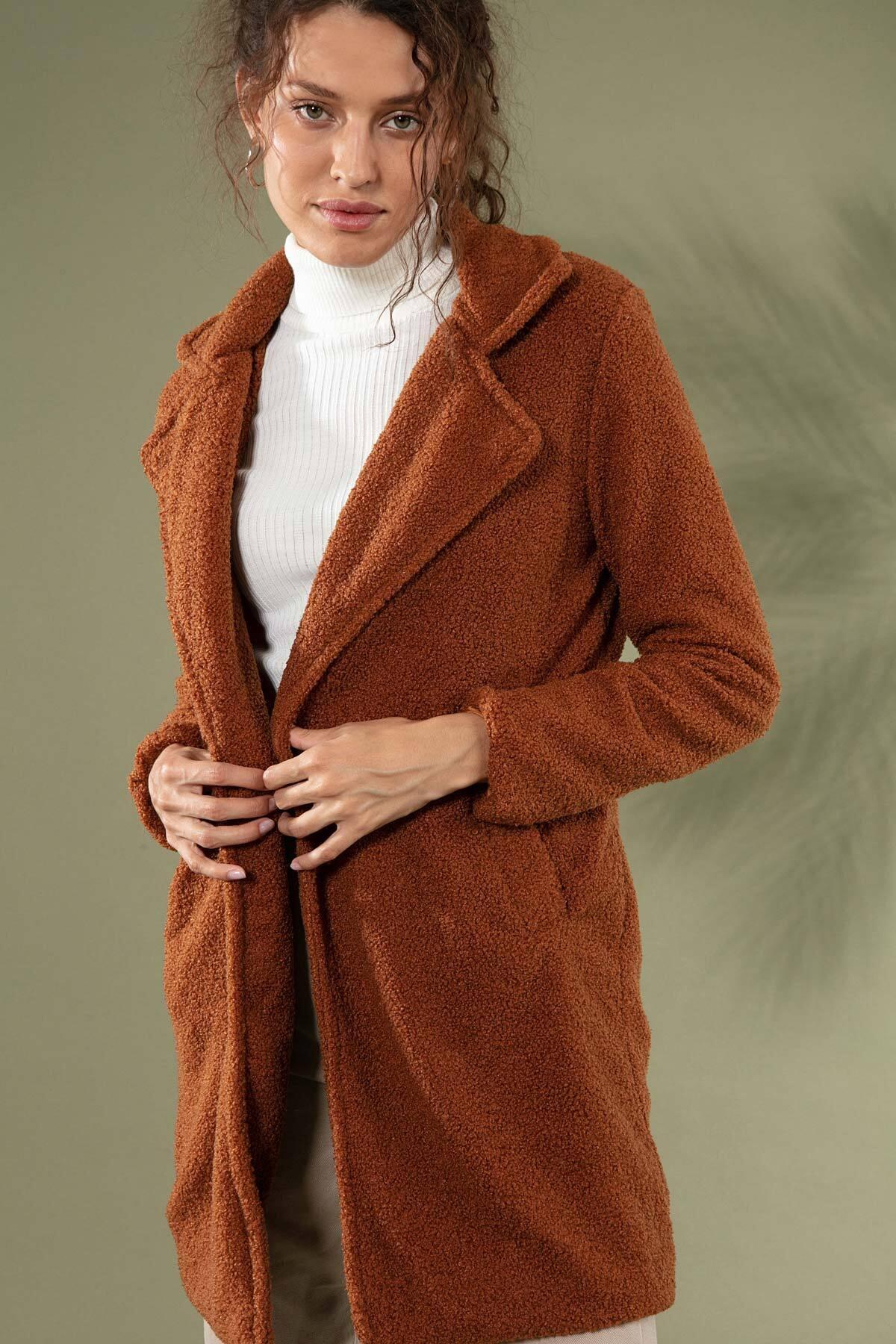 Y-London Kadın Kahve Uzun Peluş Kuzu Ceket 10418 Y19W126-10418 2