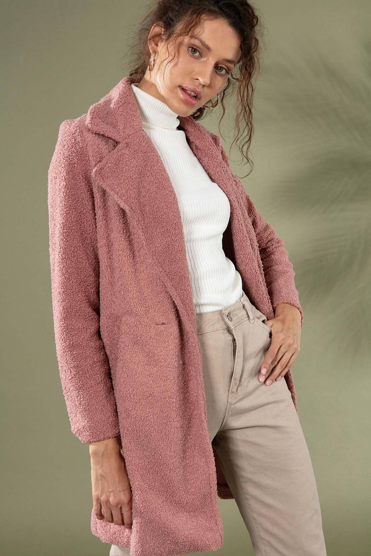 Y-London Kadın Gül Kurusu Uzun Peluş Kuzu Ceket 10418 Y19W126-10418 1