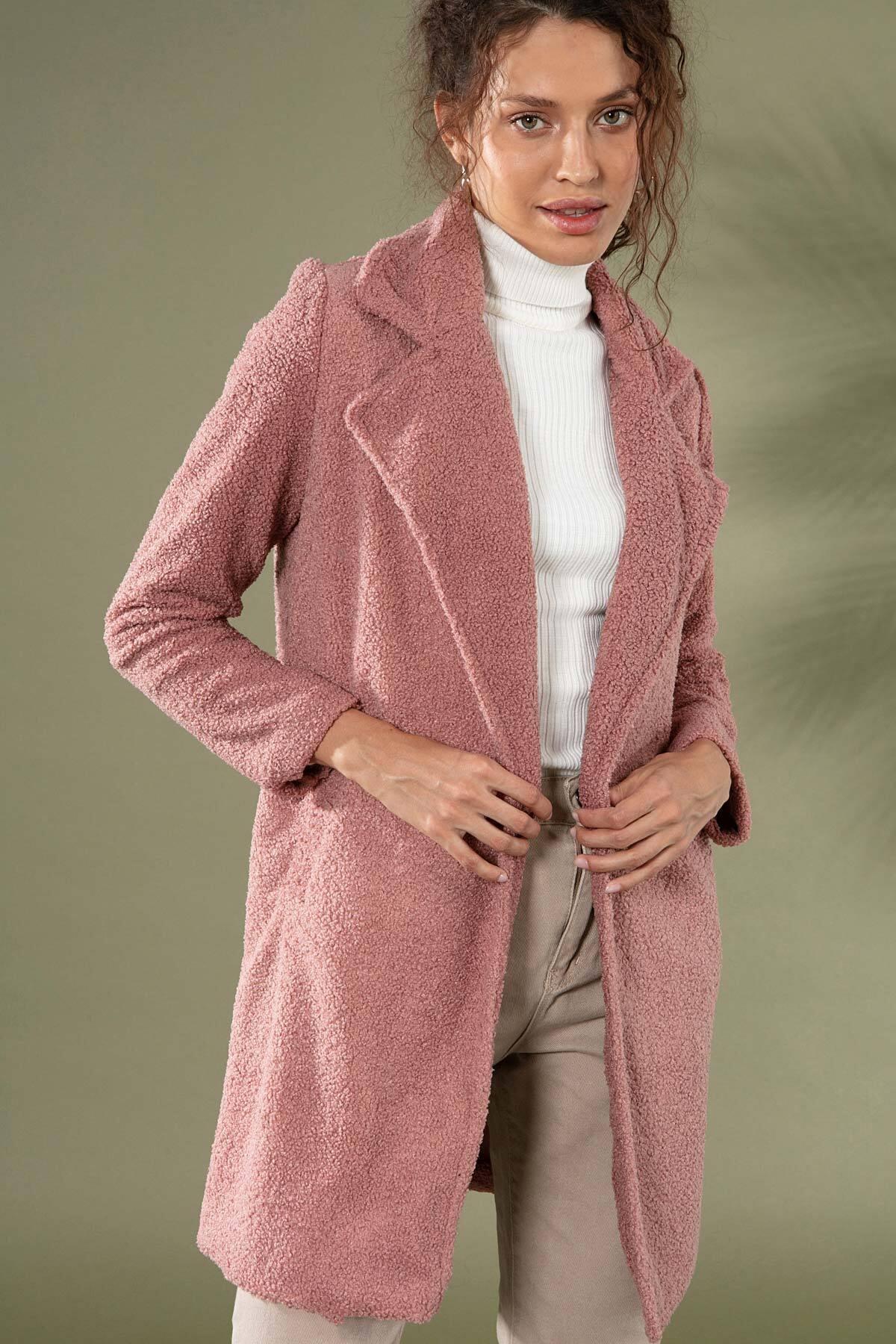 Y-London Kadın Gül Kurusu Uzun Peluş Kuzu Ceket 10418 Y19W126-10418 2