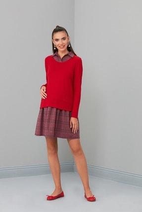 Entarim Kadın Kırmızı Etek Ucu Gömlek Hamile Elbisesi 2589