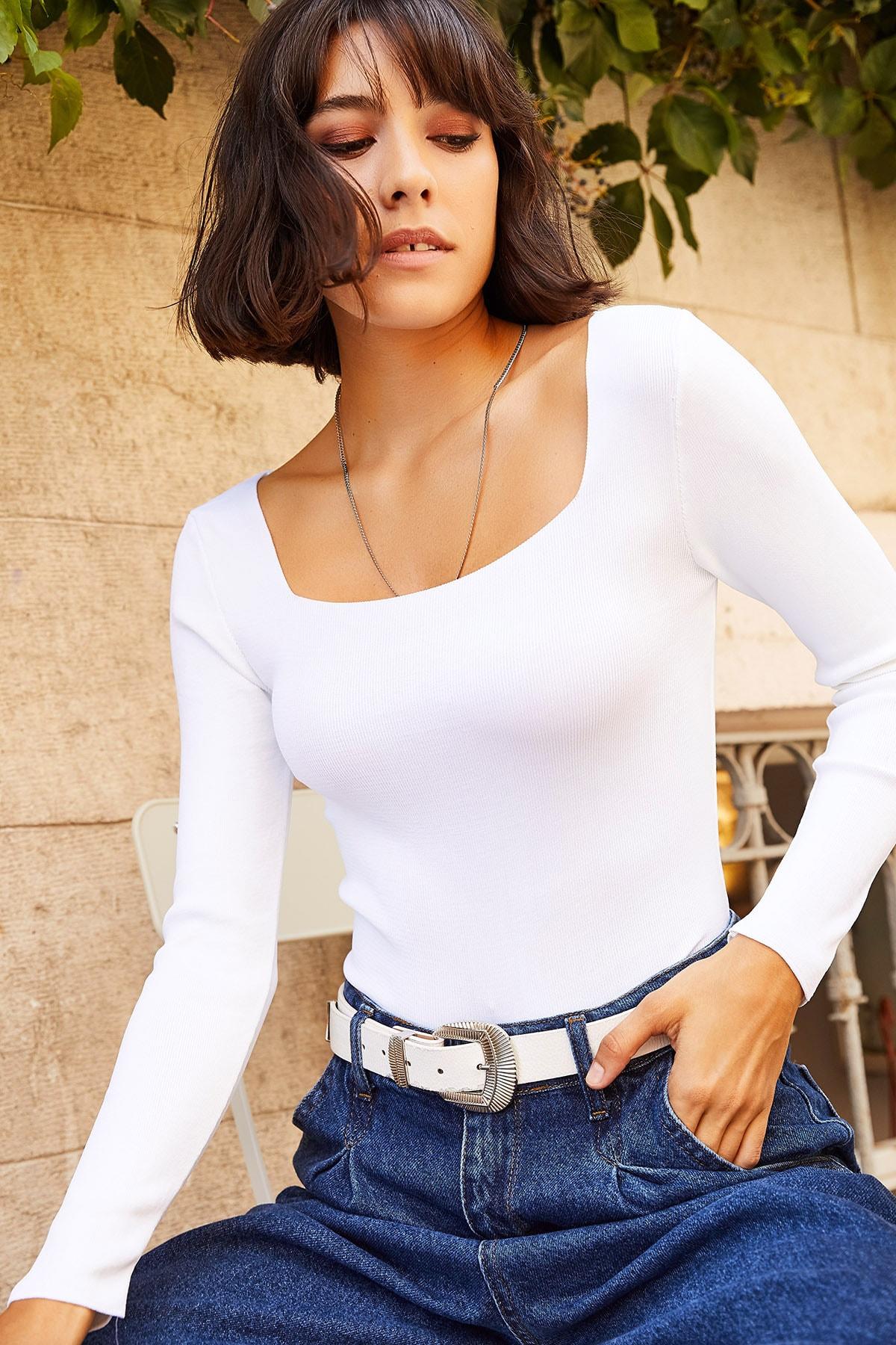 Olalook Kadın Beyaz Kare Yaka Basic Triko Bluz BLZ-19001114 1