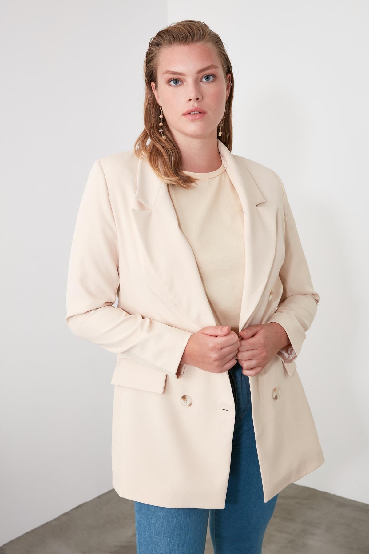 TRENDYOLMİLLA Bej Düğmeli Blazer Ceket TWOAW20CE0130 2