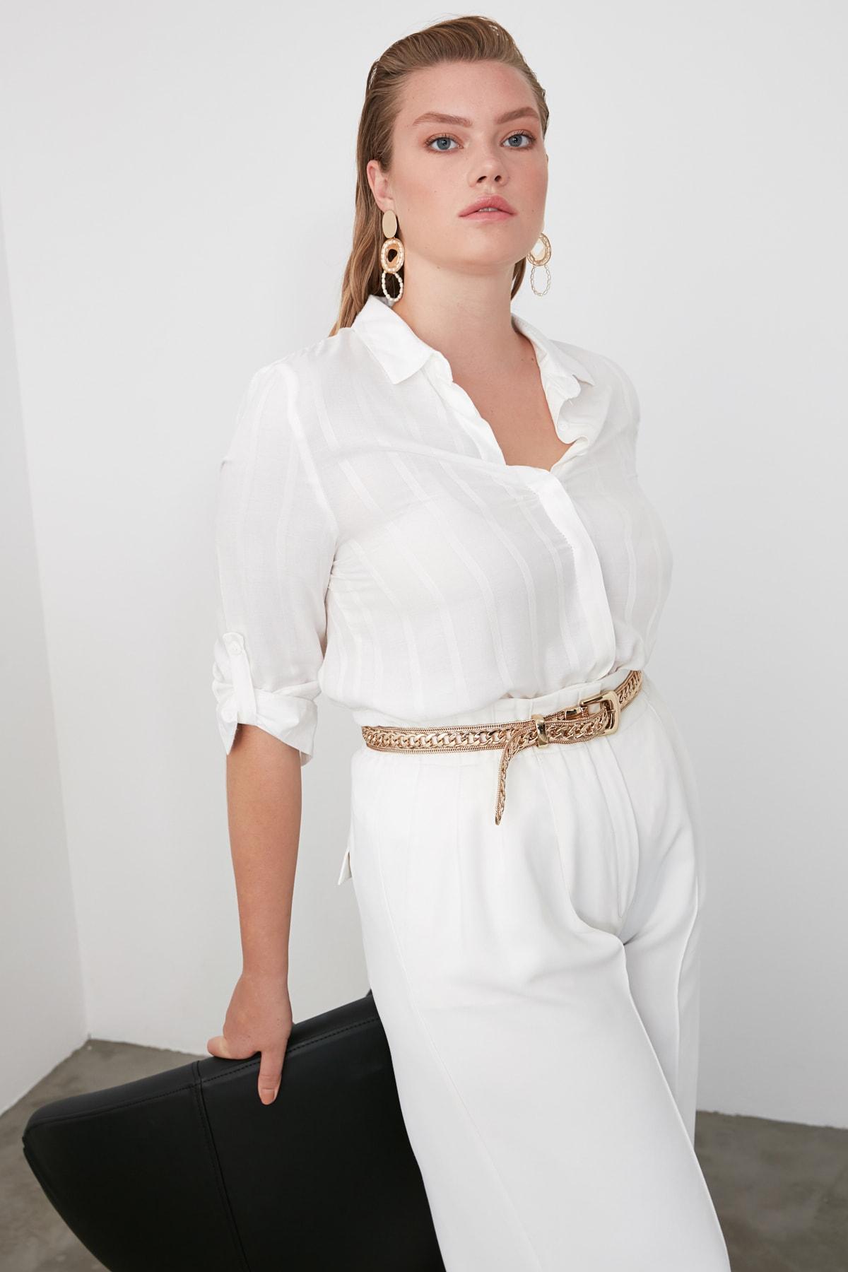 TRENDYOLMİLLA Beyaz Çizgili Gömlek TWOSS20GO0204 2
