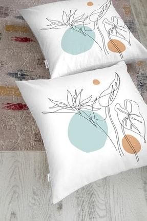 Realhomes Beyaz Zemin Üzerinde Çizim Çiçek Tasarımlı Yer Minderi