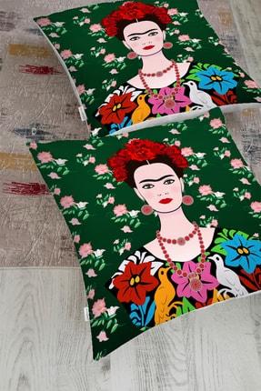 Realhomes Yeşil Zeminde Frida Kahlo Motifli Özel Tasarım Yer Minderi