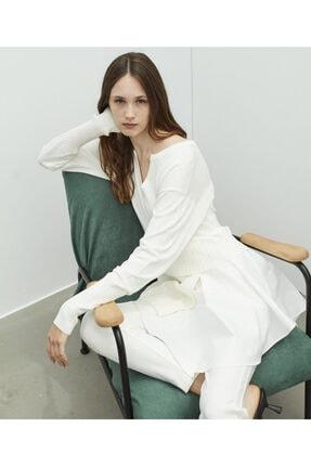 MISS IPEKYOL Kadın Beyaz Kumaş Mixli Triko Kazak