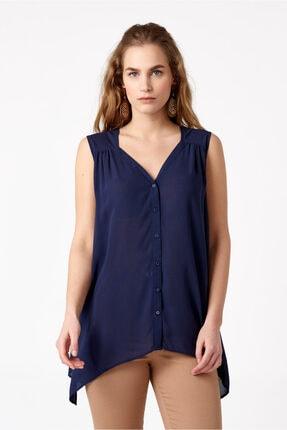 RANDOM Kadın Omzu Dikiş Detaylı V Yaka Kolsuz Bluz