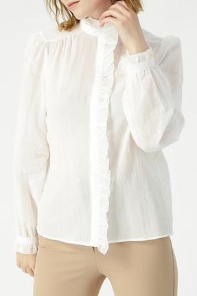 RANDOM Kadın Kolları Fırfır Detaylı Hakim Yaka Gömlek