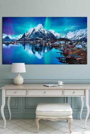 Nazenin Design Kuzey Işıkları Ve Göl Evi Manzara Doğa Kanvas Tablo 100x50 Cm Ölçü