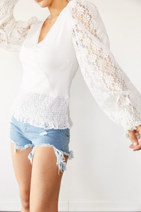 XENA Kadın Beyaz Dantel & Güpür Detaylı Kruvaze Bluz 0YZK2-10652-01