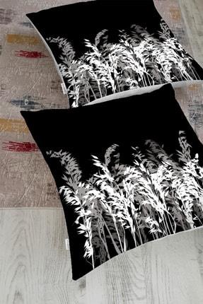 Realhomes Siyah Zeminde Beyaz Ve Gri Çiçek Temalı Özel Tasarım Yer Minderi