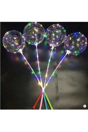 doop Işıklı Balon - Led Işıklı Şeffaf Balon - Çubuklu Balon Set
