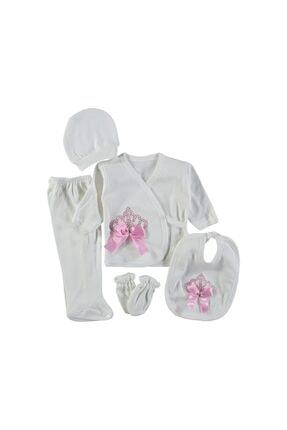 Bambino Kız Bebek Beyaz Taşlı Penye 5'li Zıbın Seti