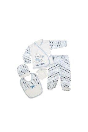 Bambino Unisex Bebek Mavi Yavru Ayı Nakışlı 5'li Zıbın Set