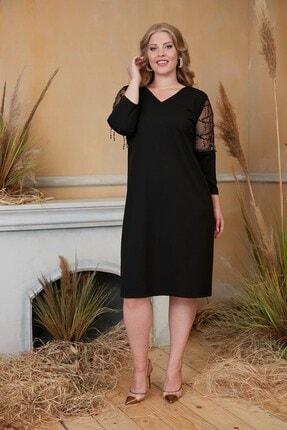 RMG Kadın Siyah Kolları Pul Payet İşlemeli Büyük Beden Siyah Abiye Elbise